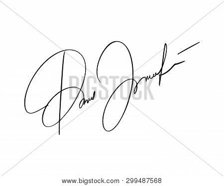 Manual Signature For Documents On White Background. Hand Drawn Calligraphy Lettering Vector Illustra