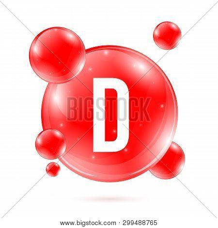 Creative Vector Illustration Of Vitamin D. Cholecalciferol Drop Pill Capsule. Nutrition Care. Art De