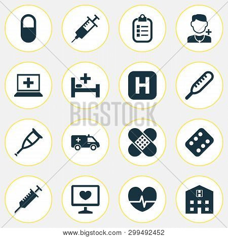 Drug Icons Set With Stings, Bed, Crutch And Other Ache Elements. Isolated Vector Illustration Drug I