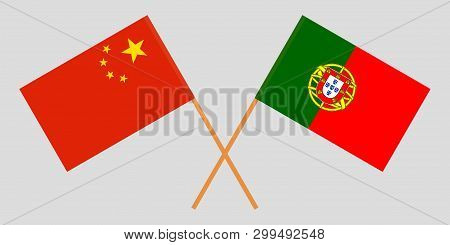 Portugal and China. The Portuguese and Chinese flags. Official colors. Correct proportion. Vector illustration poster