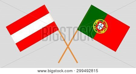 Portugal And Austria. The Portuguese And Austrian Flags. Official Colors. Correct Proportion. Vector