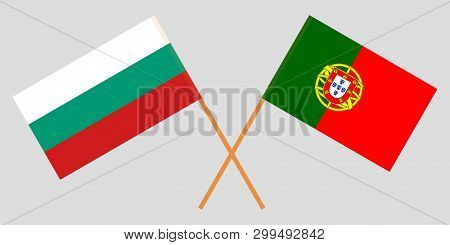 Portugal and Bulgaria. The Portuguese and Bulgarian flags. Official colors. Correct proportion. Vector illustration poster