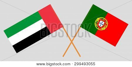 Portugal And United Arab Emirates. The Portuguese And Uae Flags. Official Colors. Correct Proportion