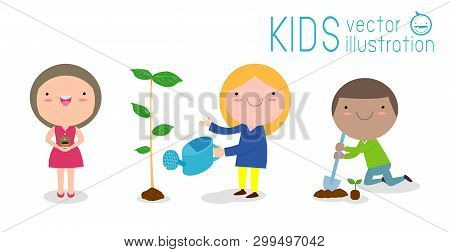 Vector Illustration Of Kids Planting In A Park, Children Are Plant Trees,cute Child Volunteers, Save