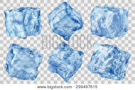 Set Of Six Realistic Translucent Ice Cubes In Blue Color Isolated On Transparent Background. Transpa