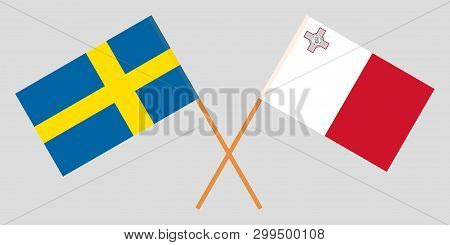 Malta And Sweden. The Maltese And Swedish Flags. Official Colors. Correct Proportion. Vector Illustr