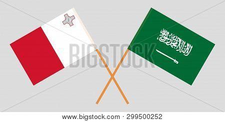 Malta And Kingdom Of Saudi Arabia. The Maltese And Ksa Flags. Official Colors. Correct Proportion. V