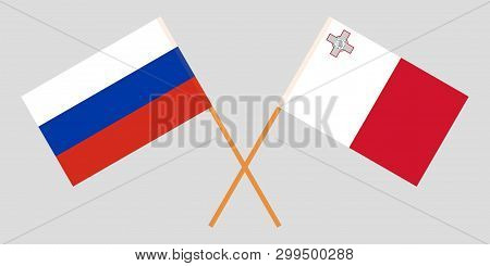 Malta And Russia. The Maltese And Russian Flags. Official Colors. Correct Proportion. Vector Illustr