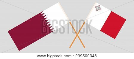 Malta And Qatar. The Maltese And Qatari Flags. Official Colors. Correct Proportion. Vector Illustrat