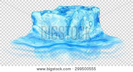 One Big Realistic Translucent Ice Cube In Light Blue Color Half Submerged In Water. Isolated On Tran
