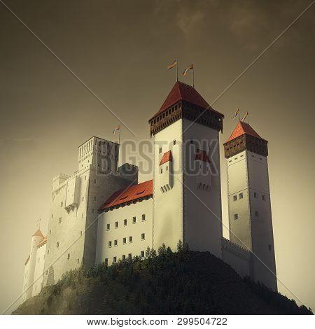 High Medieval Castle Standing On To Top Of Rock. Twilight Lighting Atmosphere. 3d Render Illustratio
