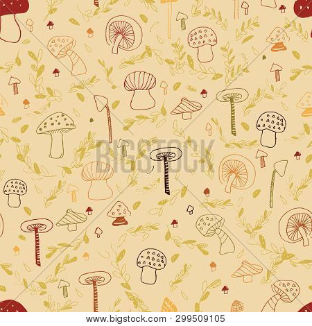 Woodland Mushroom Line Seamless Pattern. Perfect For Woodland Design