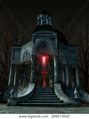 Gothic Mausoleum Tomb With A Gravestone Situated In The Center Of The Interior Space, 3d Render