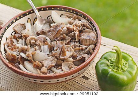 Salad From Mushrooms, Green Pepper