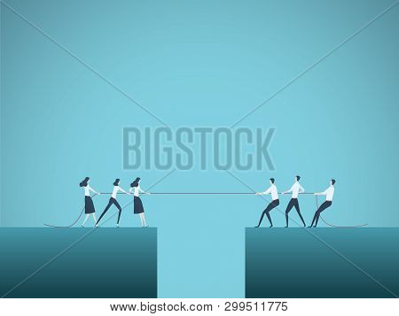 Business Competition Vector Concept With Teams In Tug Of War Pulling Rope Over Gap, Abyss. Symbol Of
