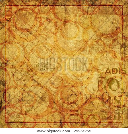 poster of Alienated used paper background with gold ornamental for announcement
