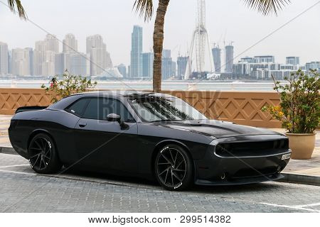 Dubai, Uae - November 17, 2018: American Muscle Car Dodge Challenger In The City Street.