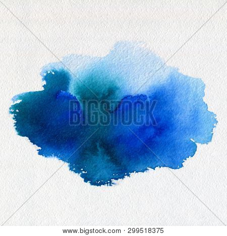 Abstract Watercolor Aquarelle Hand Drawn Blue Art Paint Blot On White Background.blue Ink Stain With
