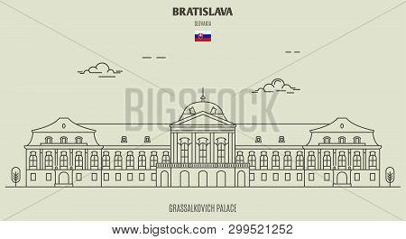 Grassalkovich Palace, Bratislava, Slovakia. Landmark Icon In Linear Style