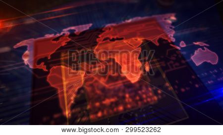 Cyber Security Concept With World Map Hologram Over Cpu In Background. Concept Of Globalization, Int