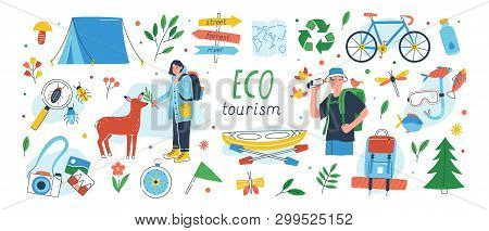 Ecotourism Set. Collection Of Eco Friendly Tourism Design Elements Isolated On White Background - Ma