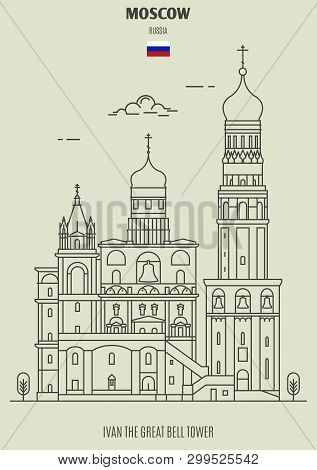 Ivan The Great Bell Tower In Moscow, Russia. Landmark Icon In Linear Style
