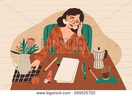 Young Pensive Woman Sitting At Desk With Clean Sheet Of Paper In Front Of Her. Concept Of Writers Bl