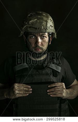 Ready To Save Their Lives. Half-lenght Portrait Of Young Male Soldier. Man In Military Uniform On Th