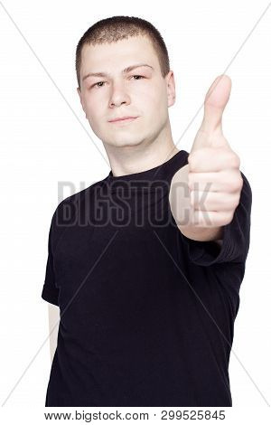 Young Man With Black T-shurt Showing Thumb Up