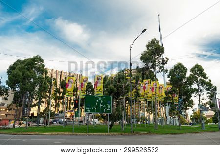 Melbourne, Australia - March 7, 2019: Elizabeth Street Roundabout, On The Intersection Of Flemington