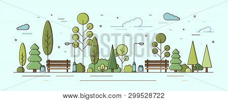Modern Urban Landscape. Municipal Park Or Communal Garden With Green Trees, Bushes, Street Lights An