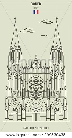 Saint-ouen Abbey Church In Rouen, France. Landmark Icon In Linear Style