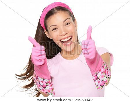 Cleaning Woman Thumbs Up Excited