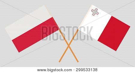 Malta And Poland. The Maltese And Polish Flags. Official Colors. Correct Proportion. Vector Illustra