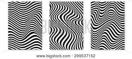 Set Of Layouts With Wavy Lines. Twisted Duotone Backgrounds. Abstract Pattern From Lines, Halftone E