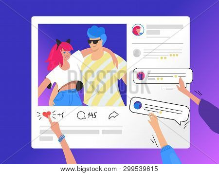Social Media Photo Rating And Commenting. Gradient Vector Illustration Of Human Hands Pushing A Hear