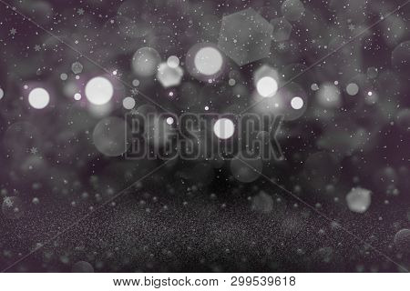 Pink Wonderful Glossy Abstract Background Glitter Lights With Falling Snow Flakes Fly Defocused Boke