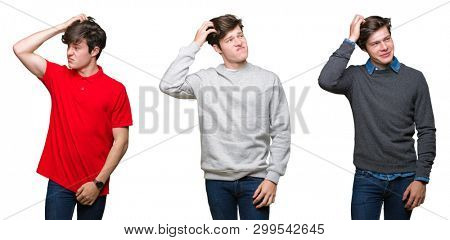 Collage of young man over white isolated background confuse and wonder about question. Uncertain with doubt, thinking with hand on head. Pensive concept.