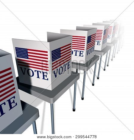 Usa Vote And United States Voting As A Polling Place With Voter Booths For An American Presidential
