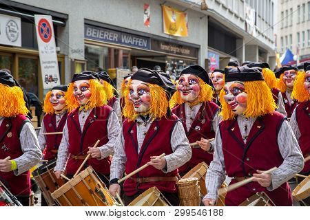 Basel, Switzerland - March 11, 2019: Participants At The Carnival Of Basel. The Carnival Of Basel Is