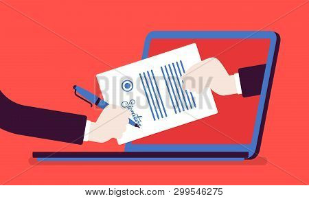 Electronic Signature On Laptop. Business Esignature Technology, Digital Form Attached To Electronica