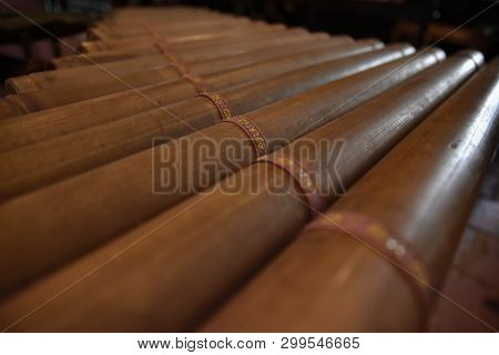 Xylophone Close Up. Trung. Vietnamese Ancient Traditional National Musical Instrument. Made Of Bambo