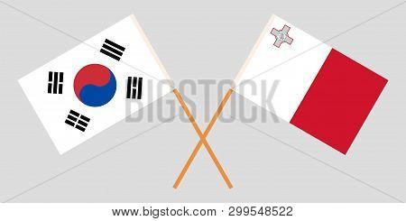 Malta And South Korea. The Maltese And Korean Flags. Official Colors. Correct Proportion. Vector Ill