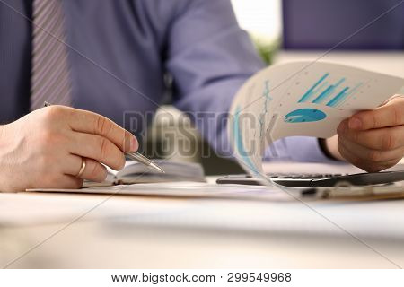 Bookkeeper Routine Paperwork Audit Report Concept. Accountant Manager Fill In Form For Mortgage Paym
