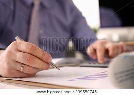 Booker Calculate Finance Balance Investment Math. Man Accounting Customer Funds Data Using Calculato