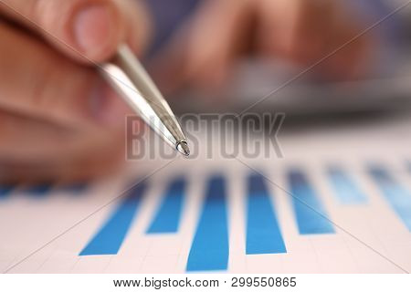 Counting Business Company Expense Profit Balance. Man Hold Pen In Hand Accounting Financial Data Wit