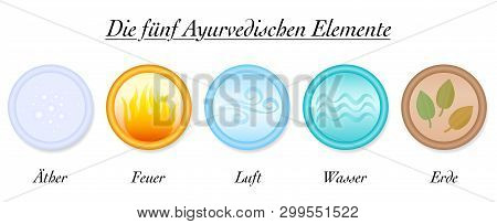 Ayurveda Elements. Ether, Fire, Air, Water, Earth, The Five. Vector Icon Illustration On White Backg