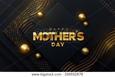 Happy Mothers Day. Vector Holiday Illustration Of Golden Label On Black Geometric Background With Sh