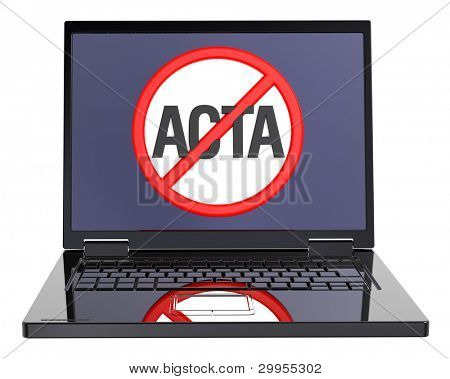 The concept of opposition to Trade Agreement ACTA inside internet. Computer generated 3D photo rendering.