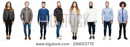 Collage of people over white isolated background with a happy and cool smile on face. Lucky person.